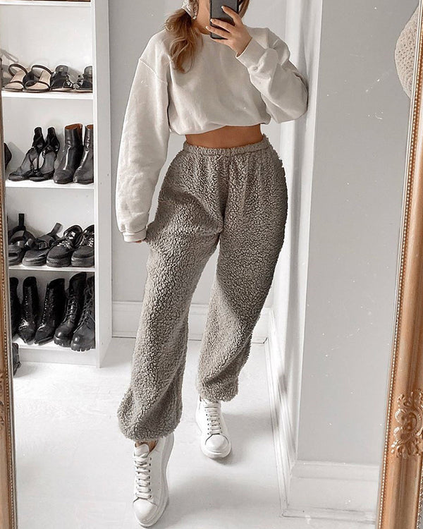 Solid High Waist Fluffy Casual Pants