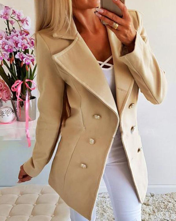 Solid Long Sleeve Buttoned Blazer