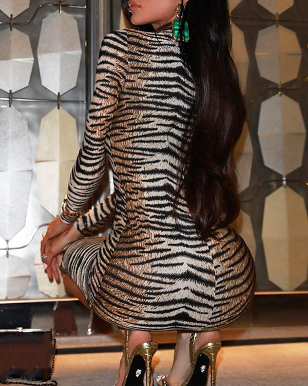 Tiger Pattern Long Sleeve Bodycon Dress