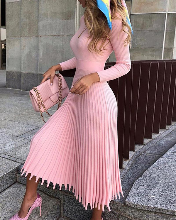 Solid Long Sleeve Pleated Sweater Dress