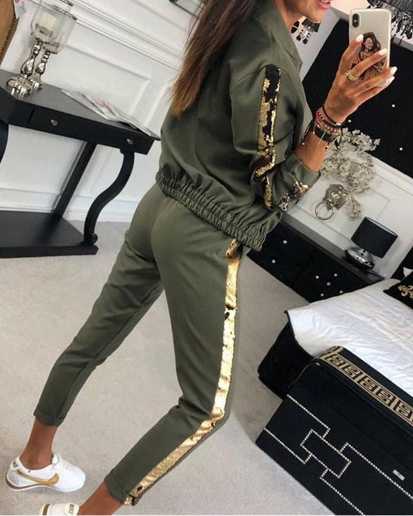 Side Stripe Zipper Tracksuit