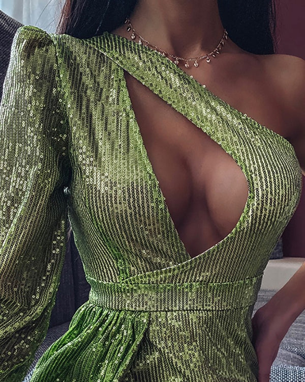 One Shoulder Cutout Sequins Slit Dress