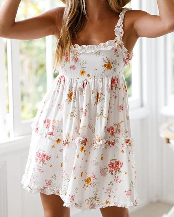 Floral Spaghetti Strap Mini Dress