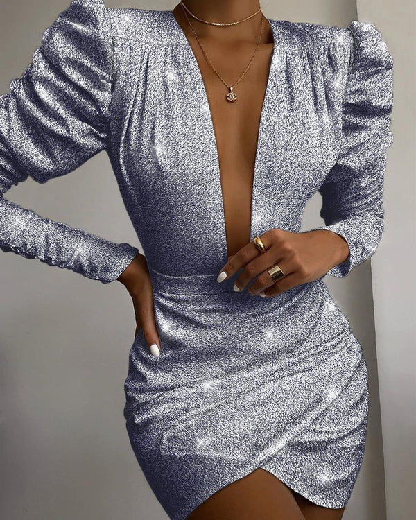 Glitter Plunge Puff Sleeve Ruched Dress