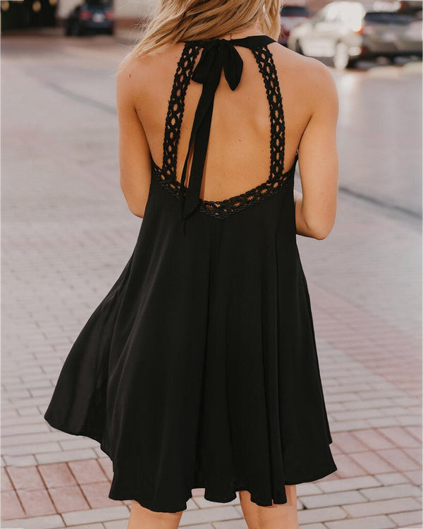 Halter Hollow Out Tied Detail Backless Mini Dress
