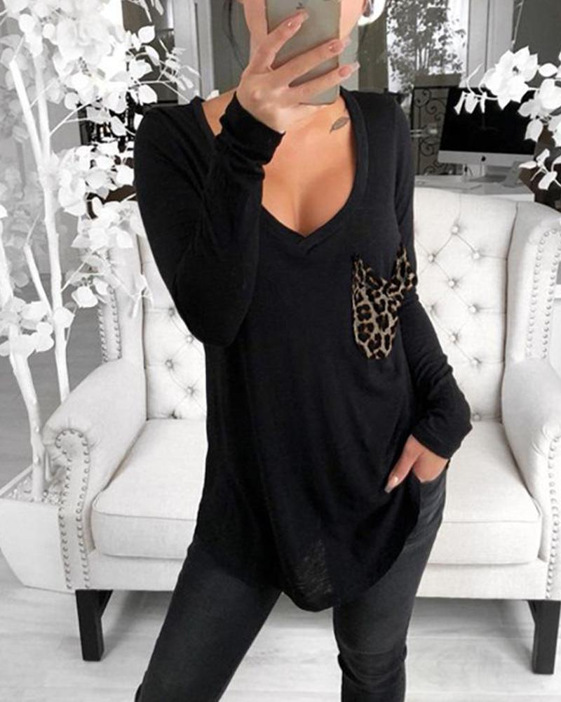 V Neck Leopard Pocket Top