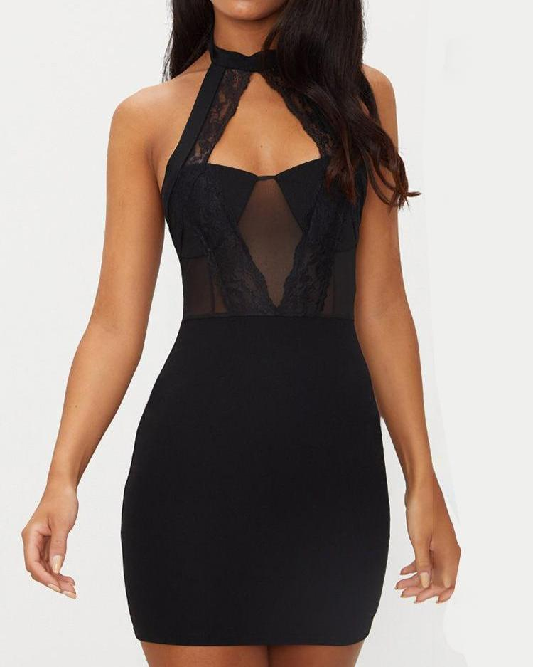 Halter Lace Bodice Sheer Bodycon Dress