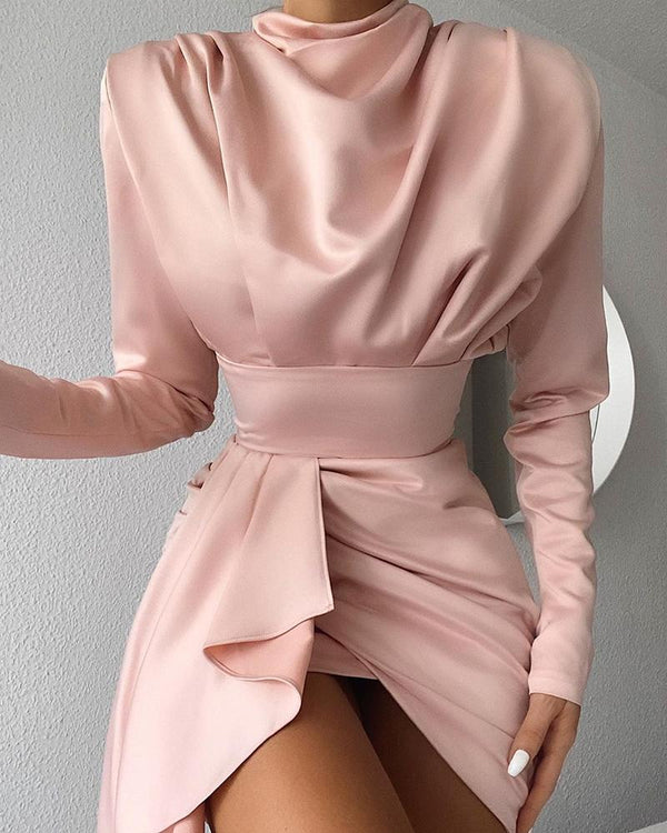 Solid Ruched Knotted Irregular Dress