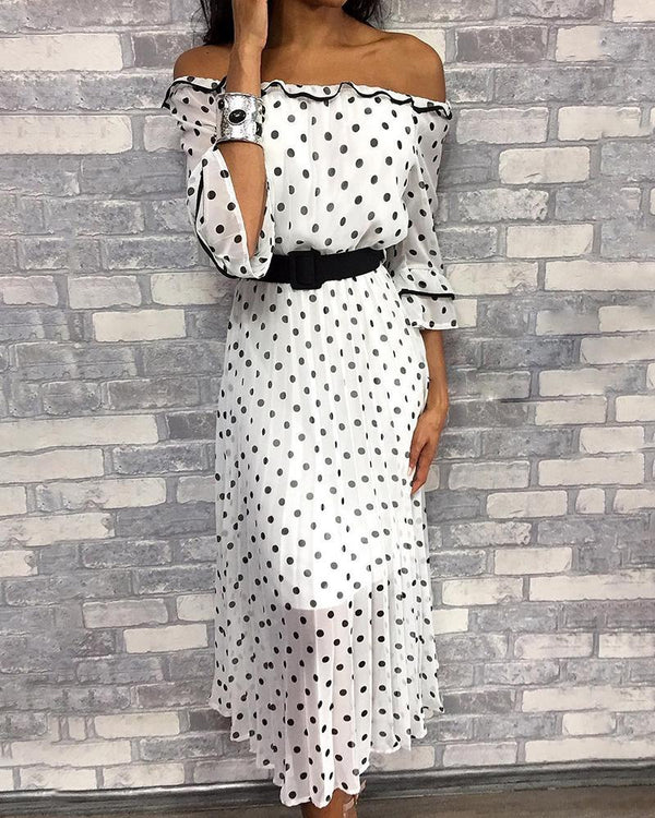 Off Shoulder Dots Print Casual Dress