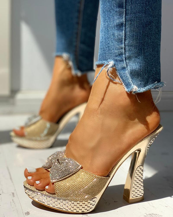 Studded Bowknot Platform Chunky Heeled Sandals