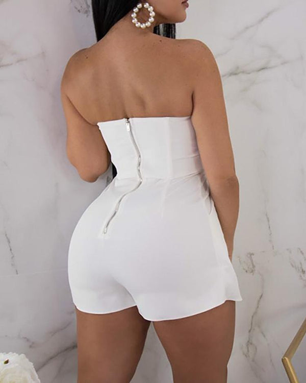 V Neck Zipper Up Back Tube Romper