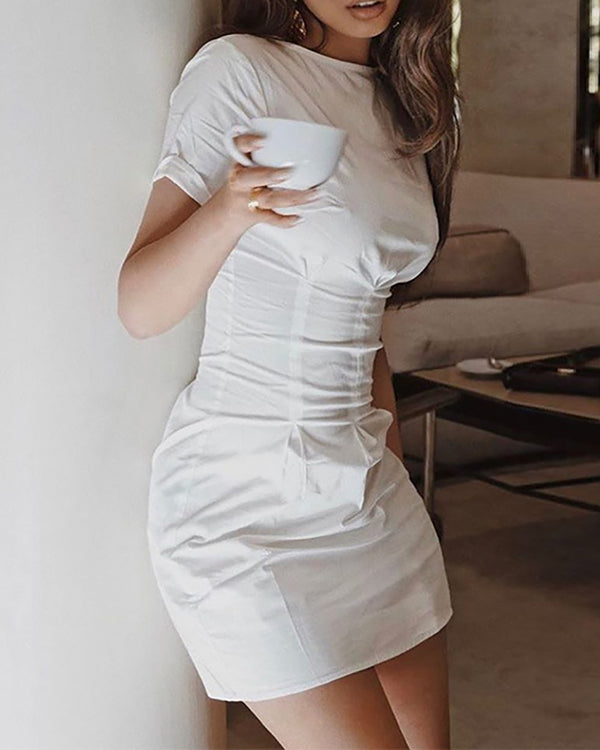 Solid Round Neck Short Sleeve Dress