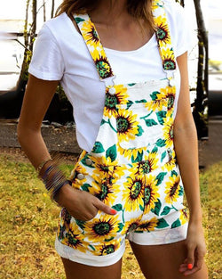 Floral Print Thick Strap Suspender Shorts