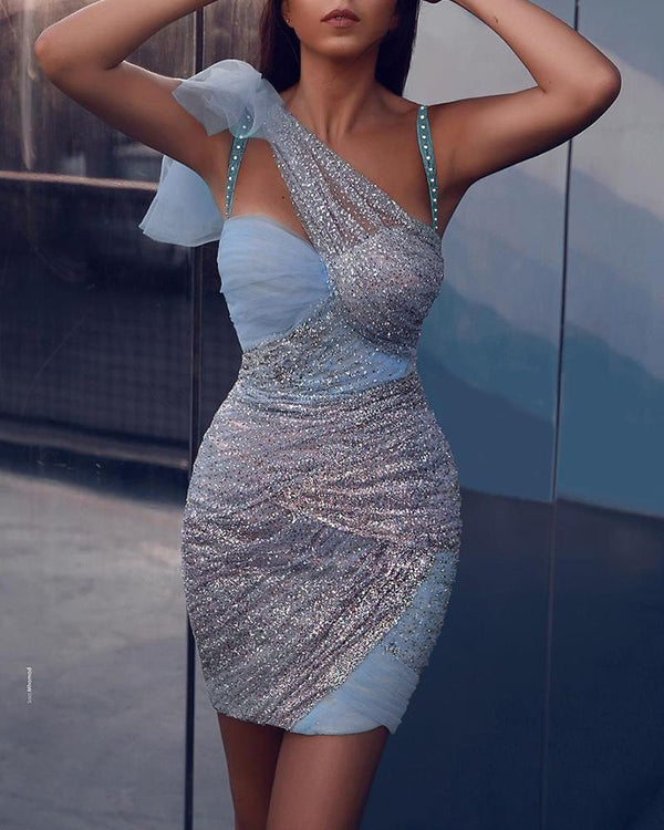 Bandage Asymmetric Mesh Patchwork Mini Dress