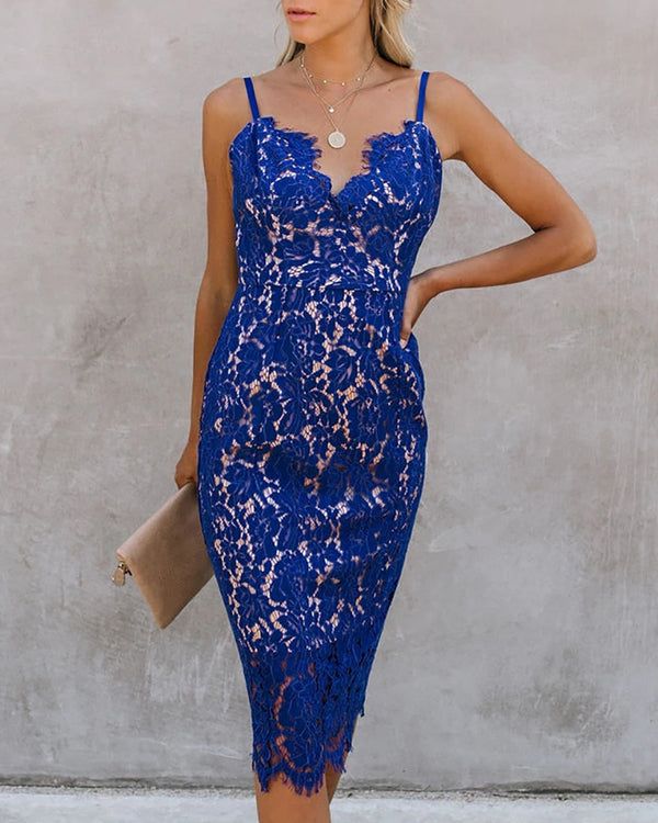 Eyelash Lace Spaghetti Strap Midi Dress