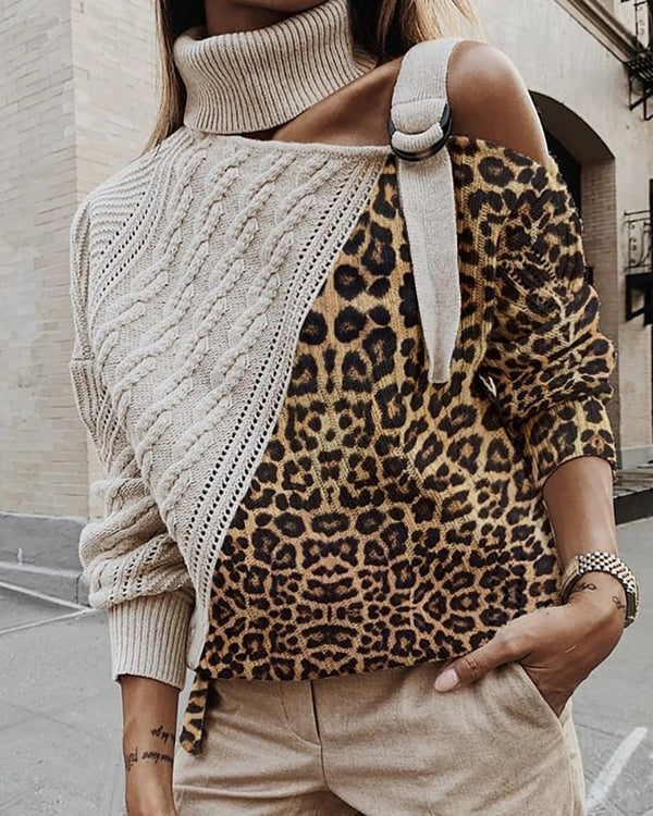 High Neck Colorblock Leopard Cut Out Knitting Sweater