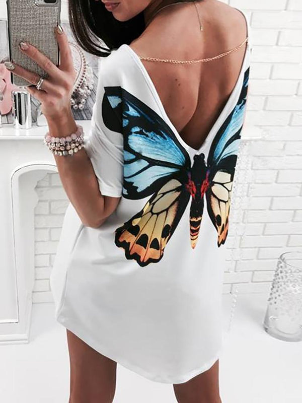High-Low Butterfly Print V Back T-shirt