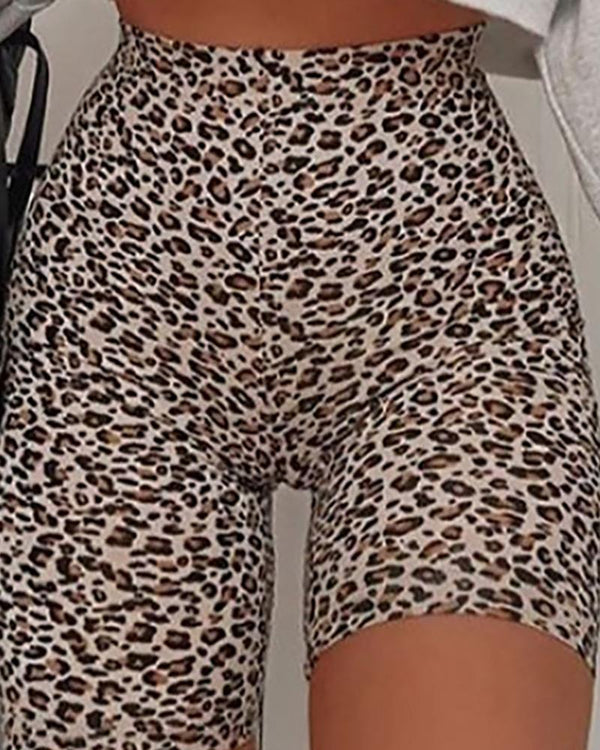 Cheetah Print High Waist Shorts