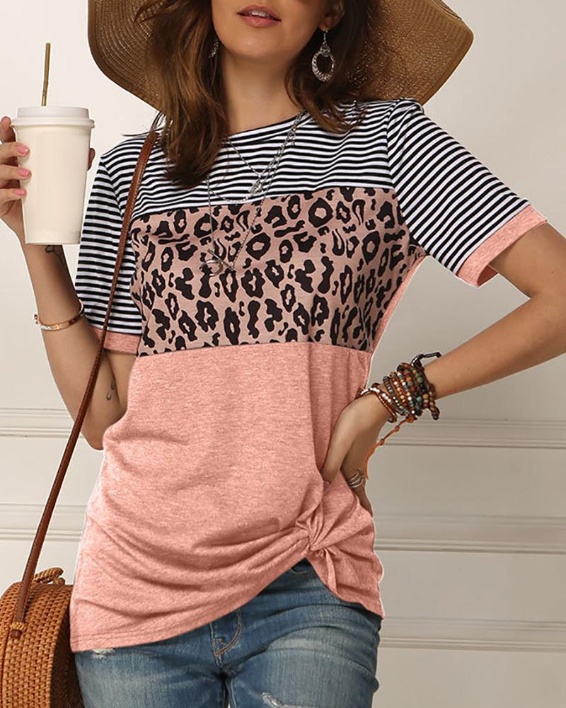 Leopard Print Striped Twisted Short Sleeve T-shirt