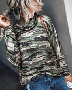 High Neck Camo Print Top