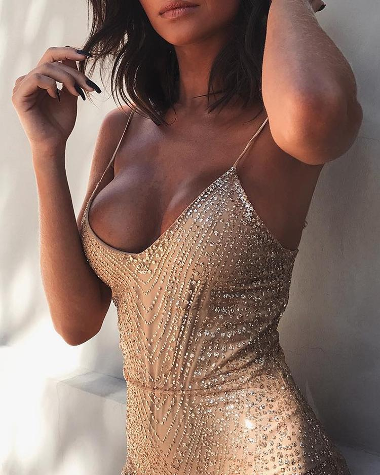 Spaghetti Strap Romper Sequin Dress