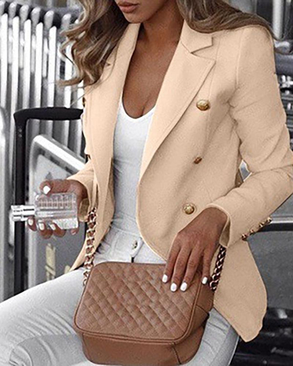 Solid Double Breasted Long Sleeve Blazer