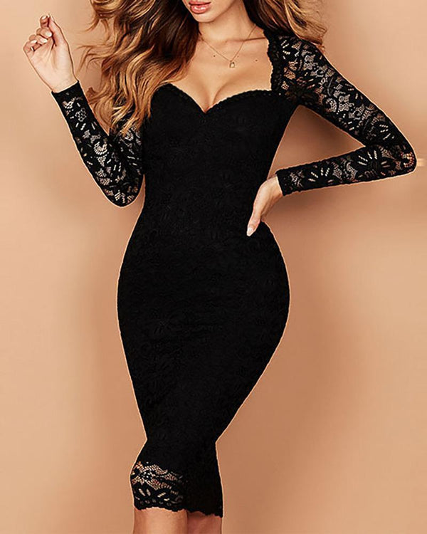 Lace V Neck  Long Sleeve Bodycon Dress