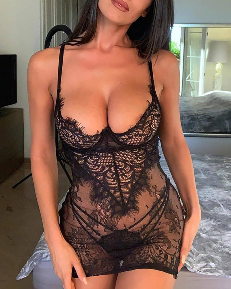 See Through Lace Backless Babydoll With Panty