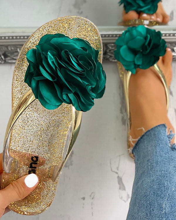 Flower Embellished Toe Post Slipper Sandals
