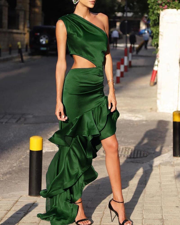 Solid One Shoulder Hollow Out Ruffles Dress