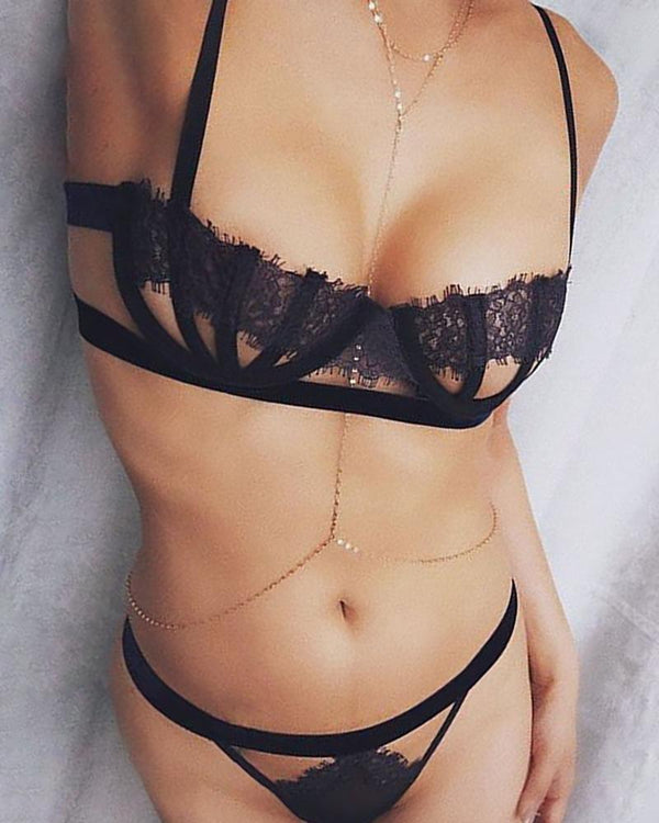 Eyelash Lace Sheer Mesh Bra Sets