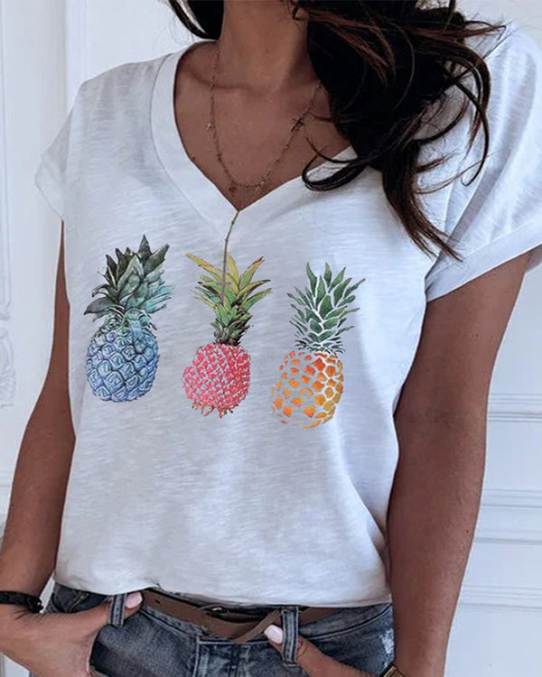 V Neck Pineapple Print Casual T-shirt