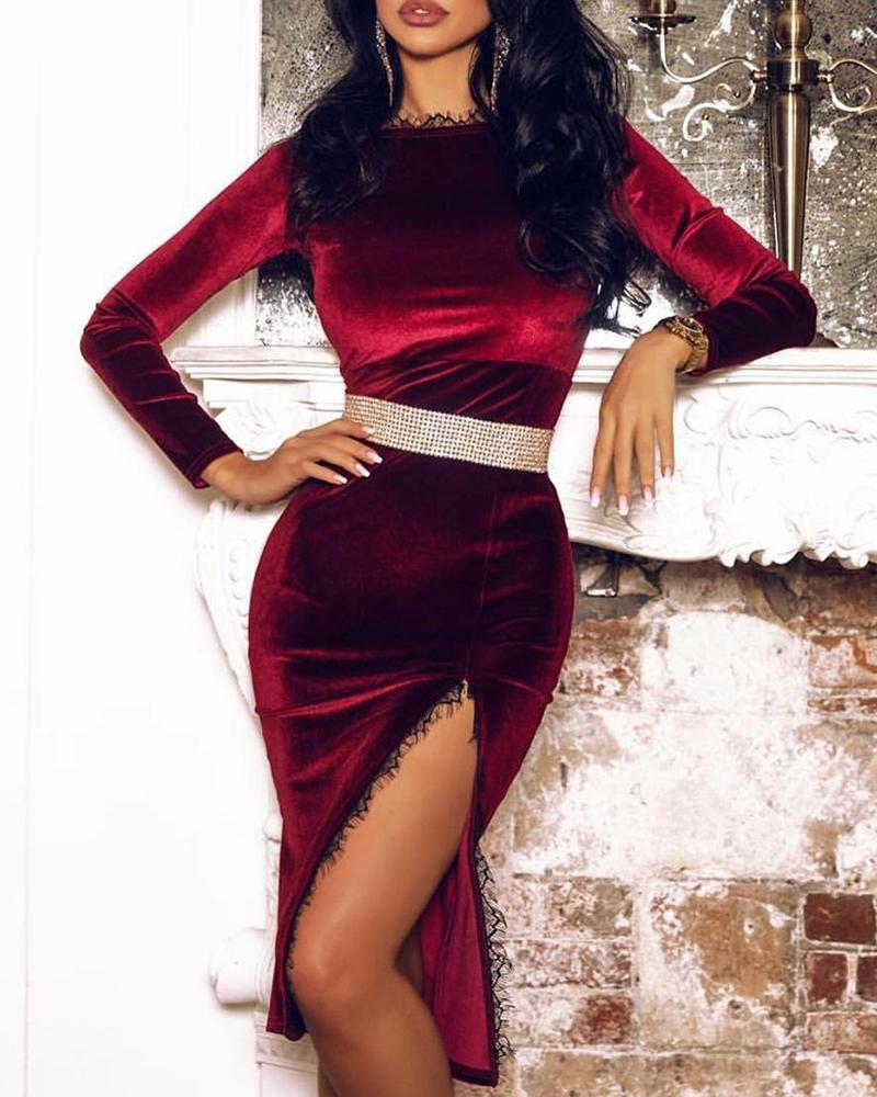 Lace Slide Slit Velvet Long Sleeve Dress