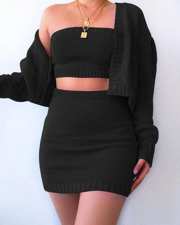 Solid Tube Top & coat & Bodycon Skirt Sets