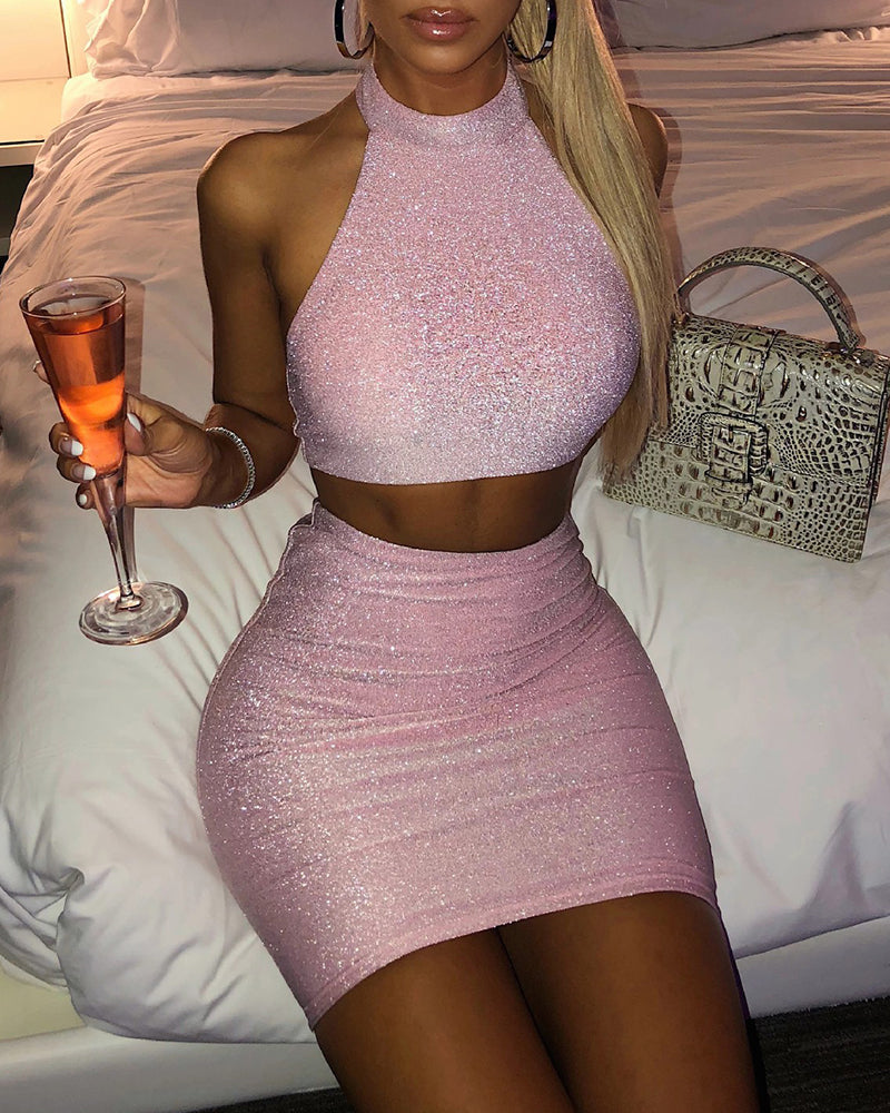 Halter Top & Mini Bodycon Skirt Set