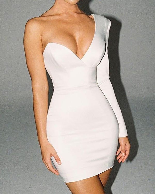Solid One Shoulder Long Sleeve Bodycon Dress