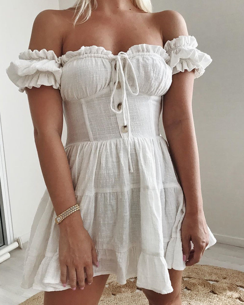 Ruched Frill Hem Off Shoulder Dress