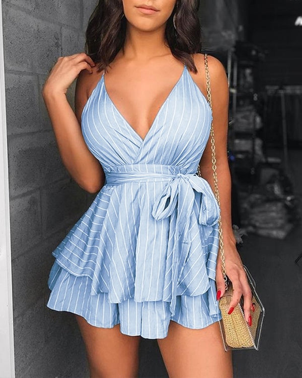 PinStripe Spaghetti Strap Layered  Pleated Romper