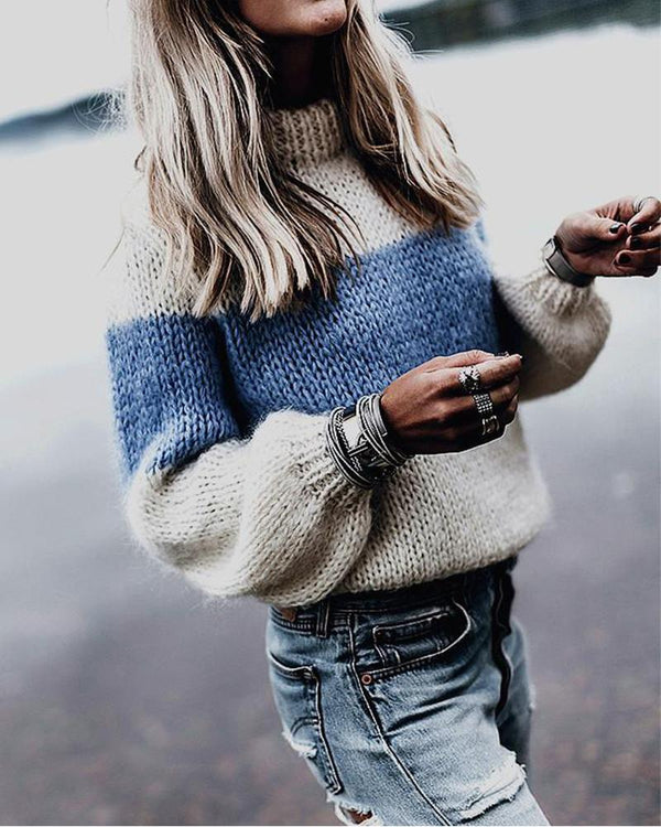 Casual Long Sleeve Mohair Sweater