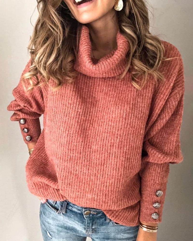 Solid High Neck Popper Cuff Long Sleeve Ribbed Knitting Sweater