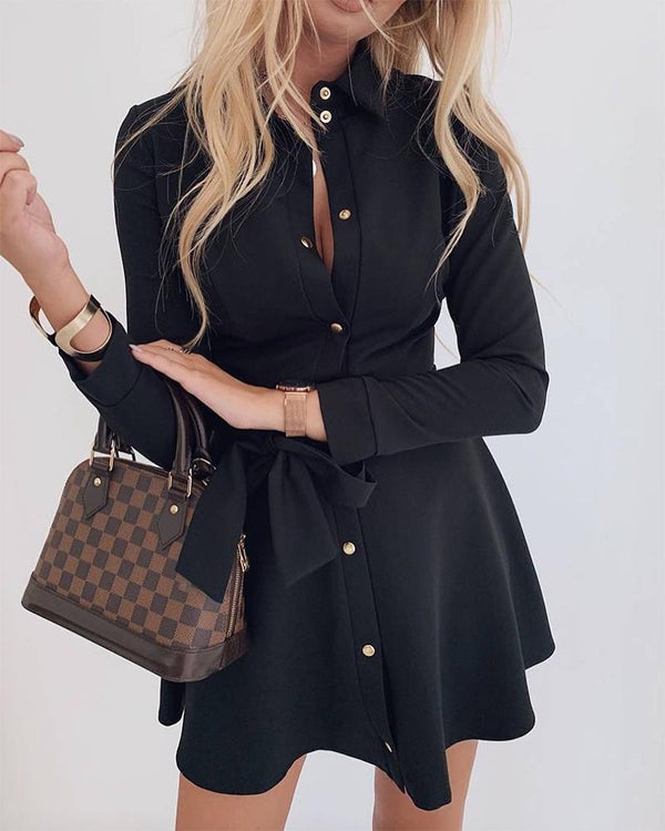 Button Up Ruffle Mini Dress
