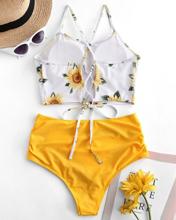 Sunflower / Palm Leaf Print Colorblock Padded Tankini Set