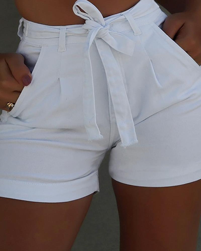 Tie Front Double Pocket Shorts