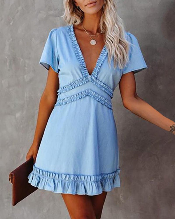 Frill Hem Ruffles Backless Dress
