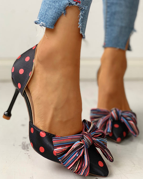 Dot Multi-Color Striped Bowknot Thin Heels