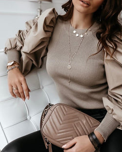 Round Neck Puff Sleeve Insert Ribbed Blouse