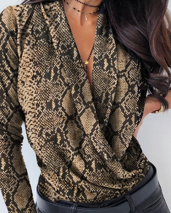 Snakeskin Long Sleeve Casual Blouse
