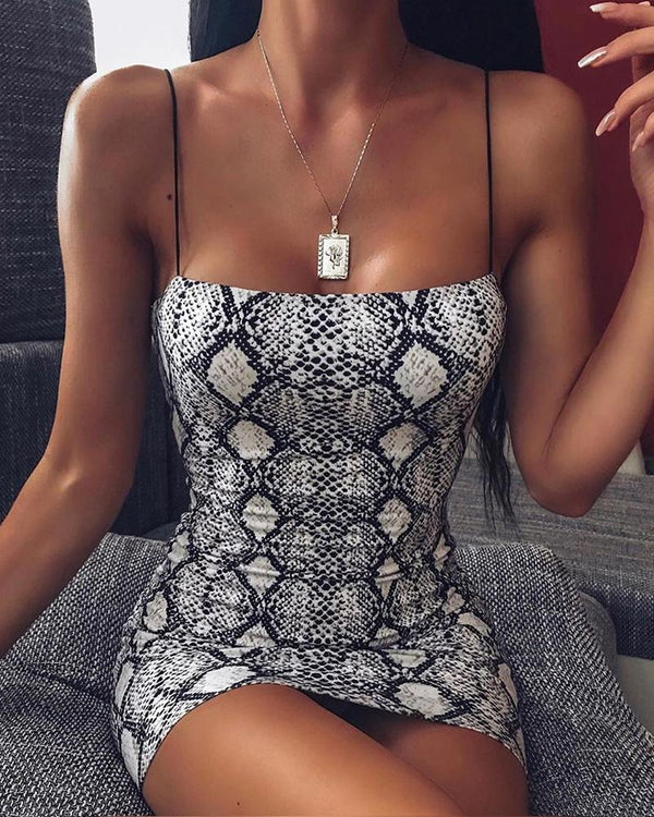 Snakeskin Spaghetti Strap Dress