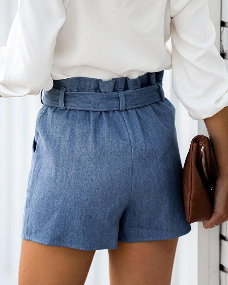 Tie Waist Ruffle Denim Shorts