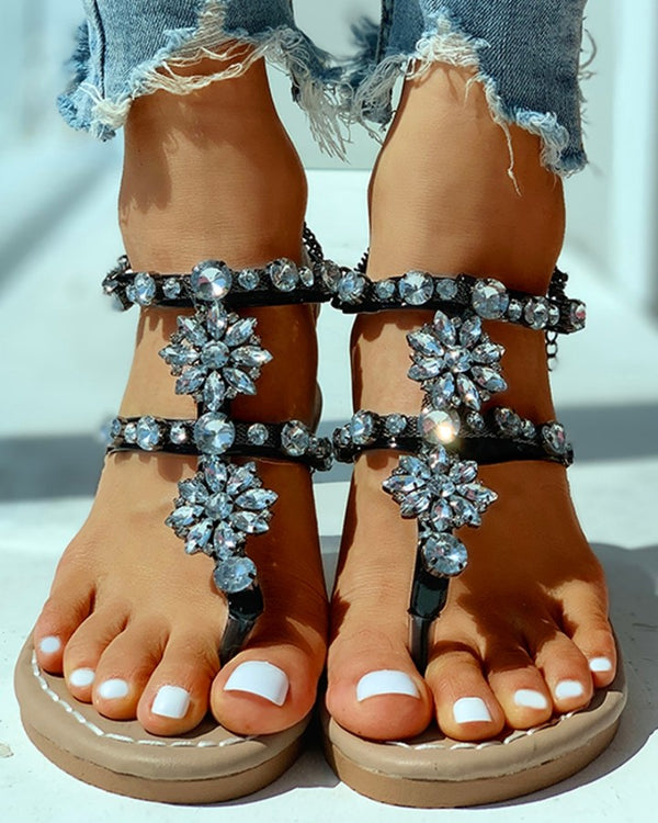 Studded Toe Post Flat Sandals